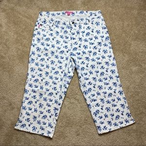 Woman Within White Floral Capris Size 14W